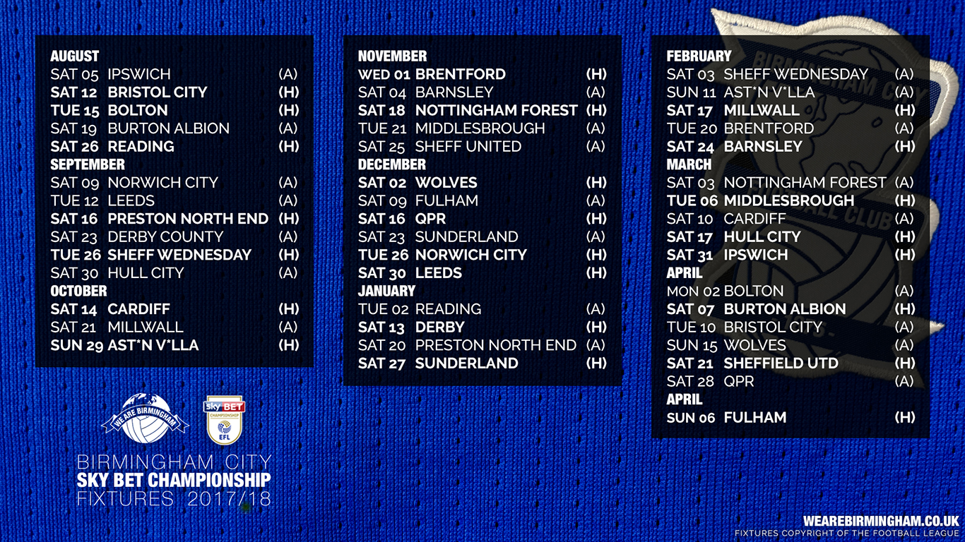 Birmingham City 2017/18 Fixture Wallpapers